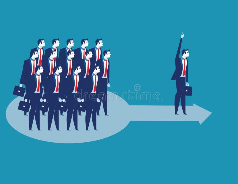 ledarskap Affärslastninglag av arbetaren att gå framåtriktat Illustration f?r begreppsaff?rsvektor stock illustrationer