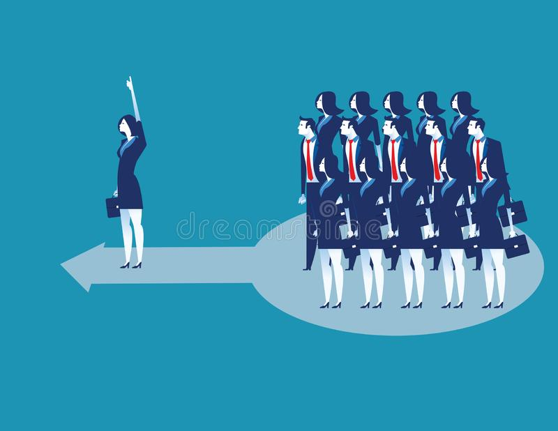 ledarskap Aff?rslastninglag av arbetaren att g? fram?triktat Illustration f?r begreppsaff?rsvektor vektor illustrationer