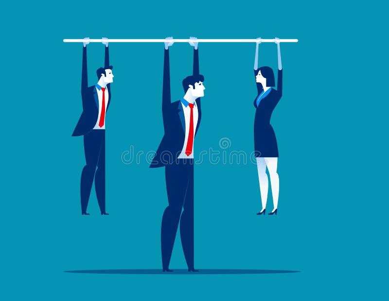 ledarskap Chefinnehavstång med den hängande personalen Illustration för begreppsaffärsvektor vektor illustrationer