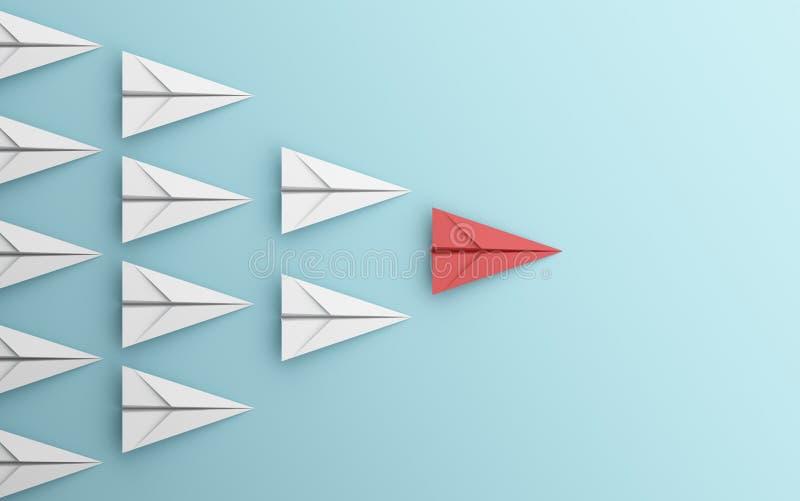 Ledarskap eller olikt begrepp med det röd och vitbokflygplanet på blå bakgrund Digital hantverk i utbildnings- eller loppbegrepp royaltyfri illustrationer