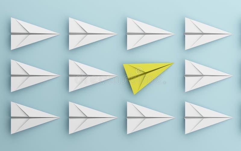 Ledarskap eller olikt begrepp med guling- och vitbokflygplanet på blå bakgrund Digital hantverk i utbildning eller lopp vektor illustrationer