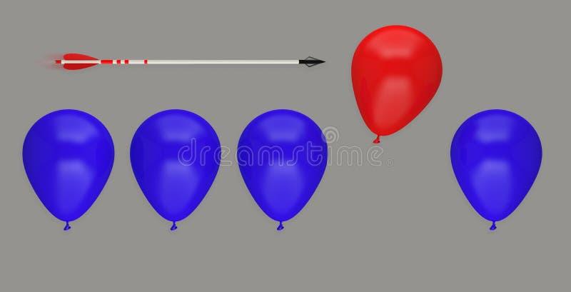 Ledarskap för idé för affär för ballongpil olikt att avlägsna offer vektor illustrationer