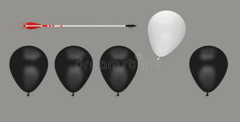 Ledarskap för idé för affär för ballongpil olikt att avlägsna offer royaltyfri illustrationer