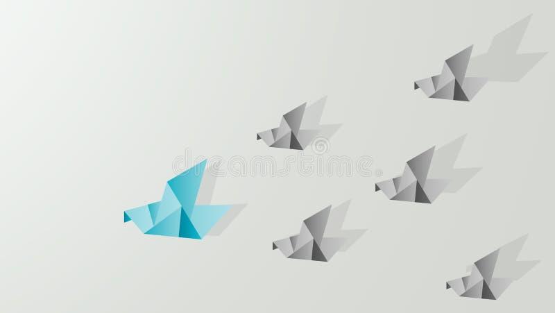 Ledarskap för origamiduvavisning royaltyfri foto