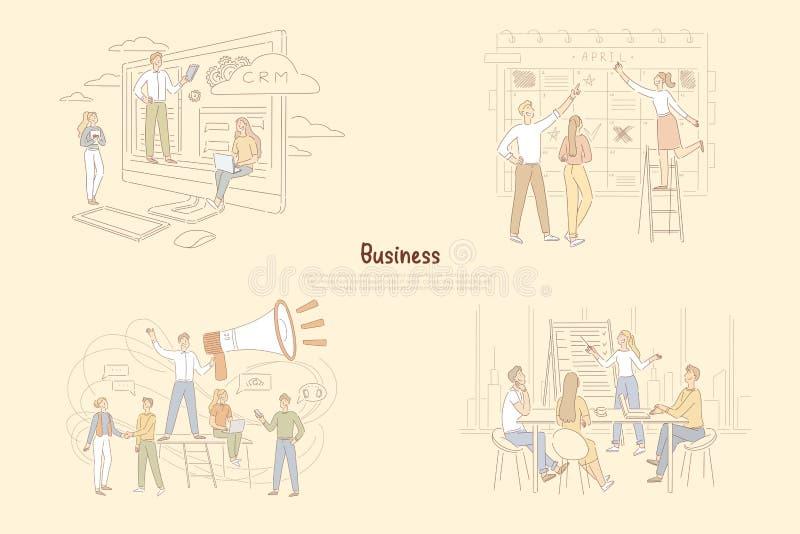 Ledarskap i affärsledning, affärsmän som planlagdr aktiviteter, bästa chef som ger anvisningsbanret royaltyfri illustrationer