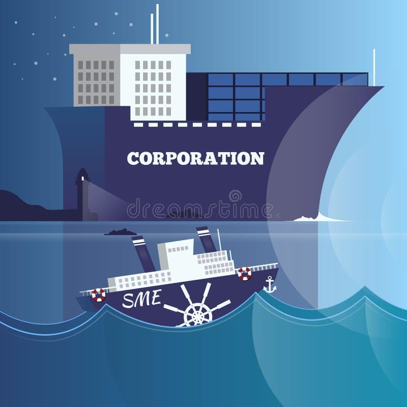 Ledarskap illustration för vektor för affärsstrukturbegrepp i plan design stock illustrationer