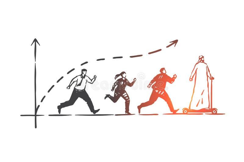 Ledarskap konkurrens, framgångbegrepp skissar Hand dragen isolerad vektorillustration stock illustrationer