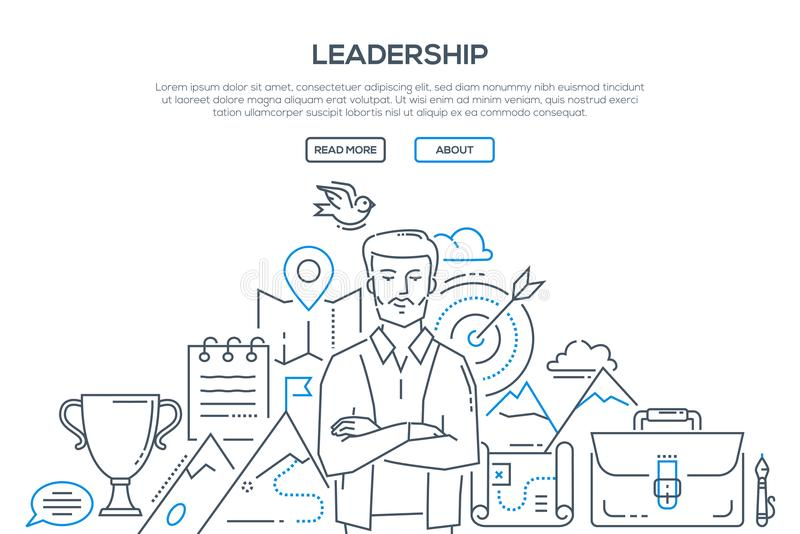 Ledarskap - modern linje designstilillustration royaltyfri illustrationer