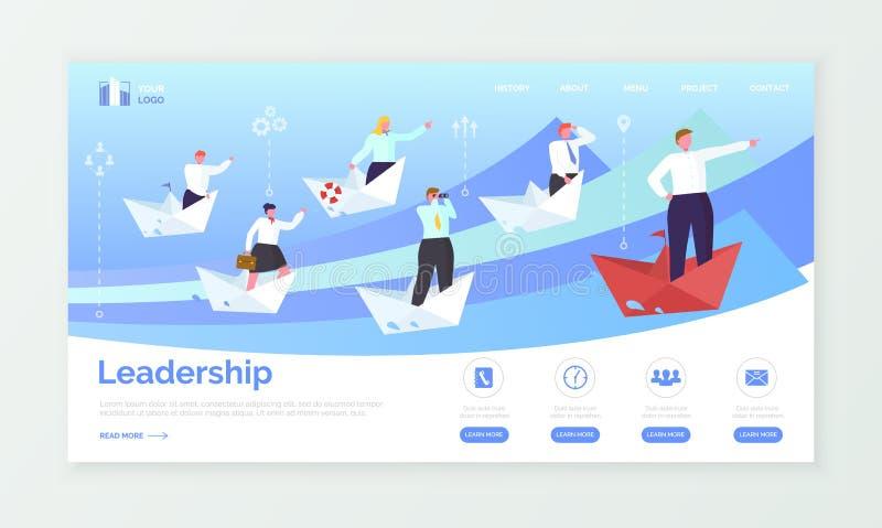 Ledarskap- och affärsWep sida eller platsmall stock illustrationer