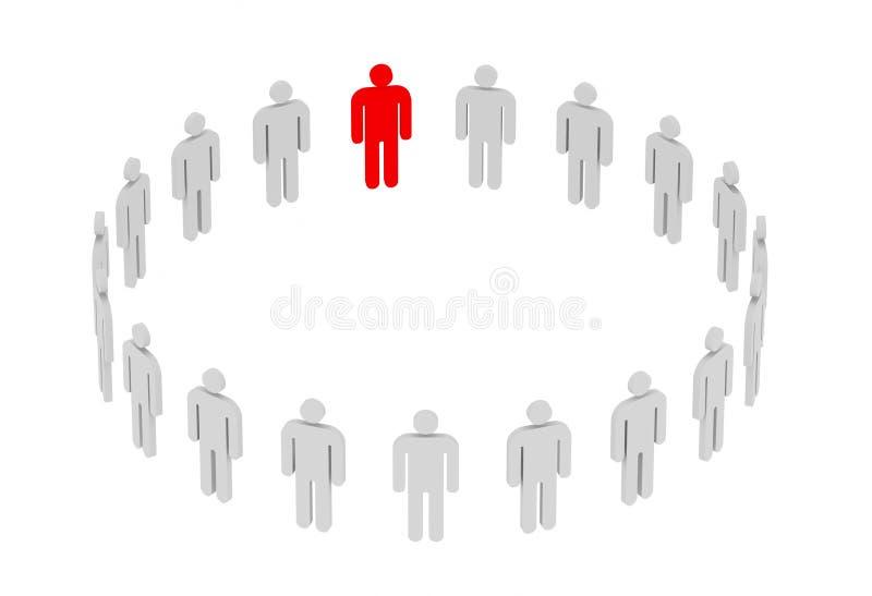 Ledarskap och funktionsdugligt lagbegrepp Mänskligt begrepp, 3d vektor illustrationer