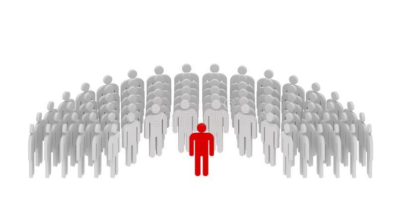 Ledarskap och funktionsdugligt lagbegrepp Mänskligt begrepp, 3d stock illustrationer