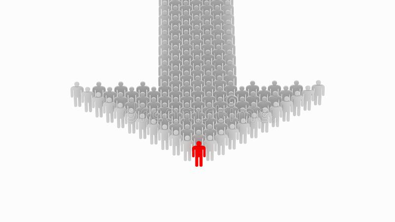Ledarskap och funktionsdugligt lagbegrepp Mänskligt pilbegrepp, 3d stock illustrationer