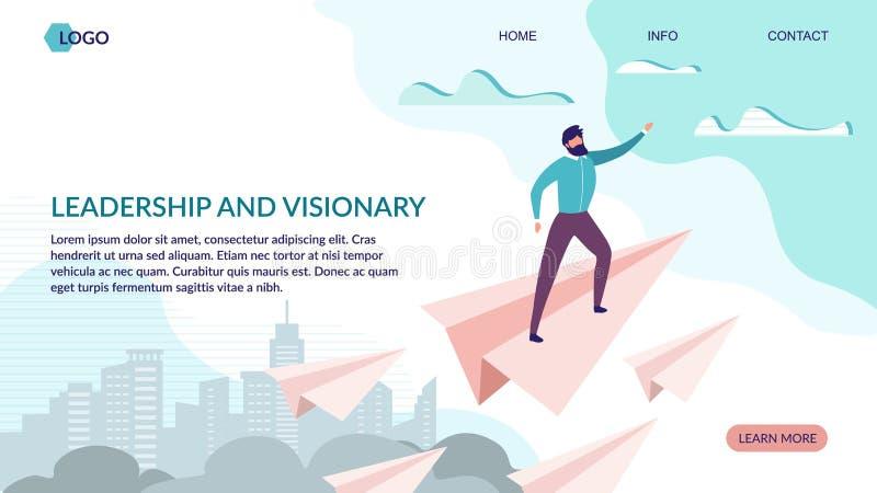 Ledarskap och visionär landa plan design för sida stock illustrationer