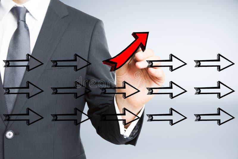Ledarskap, olik riktning och framgångbegrepp arkivbild