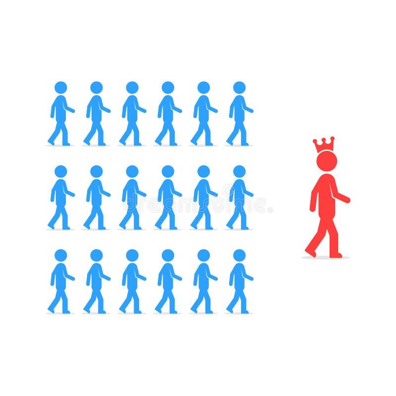Ledarskap som anhängare följer till personen royaltyfri illustrationer