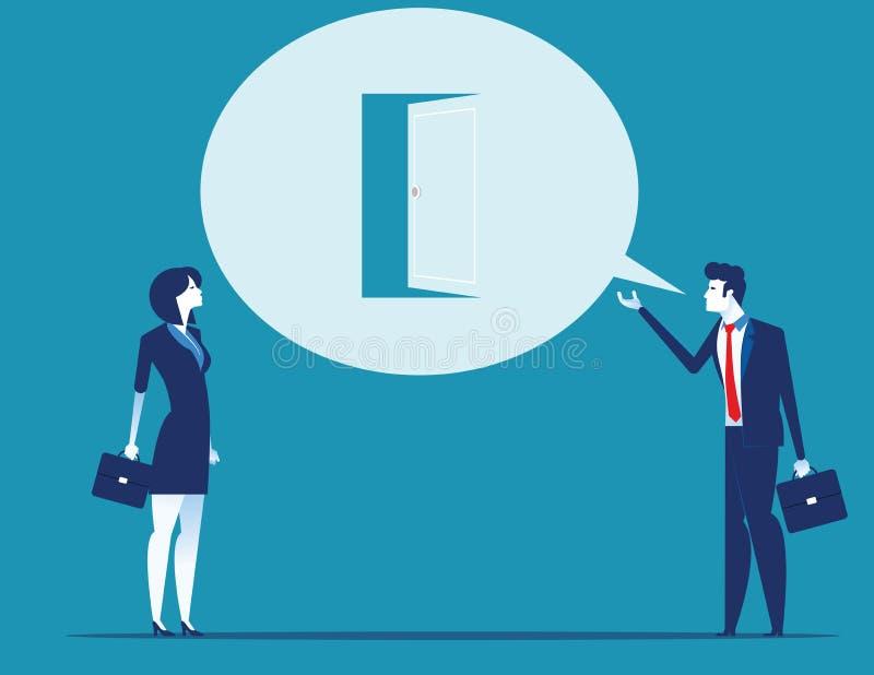 Ledarskap som talar med ett nytt tillfälle, framlägger sig Illustration f?r begreppsaff?rsvektor stock illustrationer