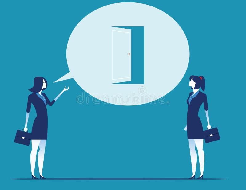 Ledarskap som talar med ett nytt tillfälle, framlägger sig Illustration f?r begreppsaff?rsvektor royaltyfri illustrationer