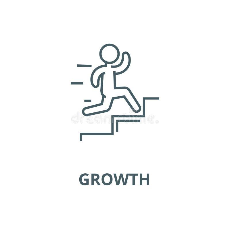 Ledarskap tillväxtvektorlinje symbol, linjärt begrepp, översiktstecken, symbol royaltyfri illustrationer