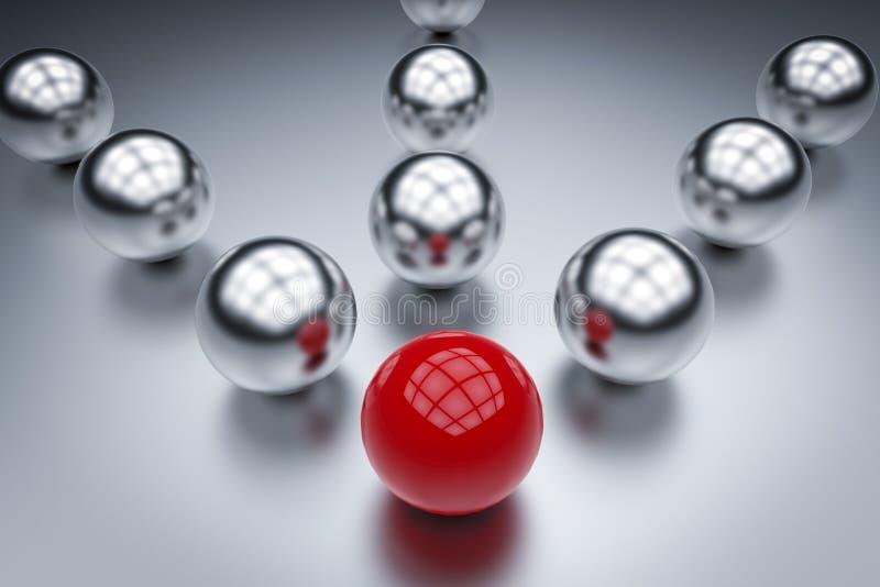 Ledarskapbegrepp med den röda bollen arkivfoton