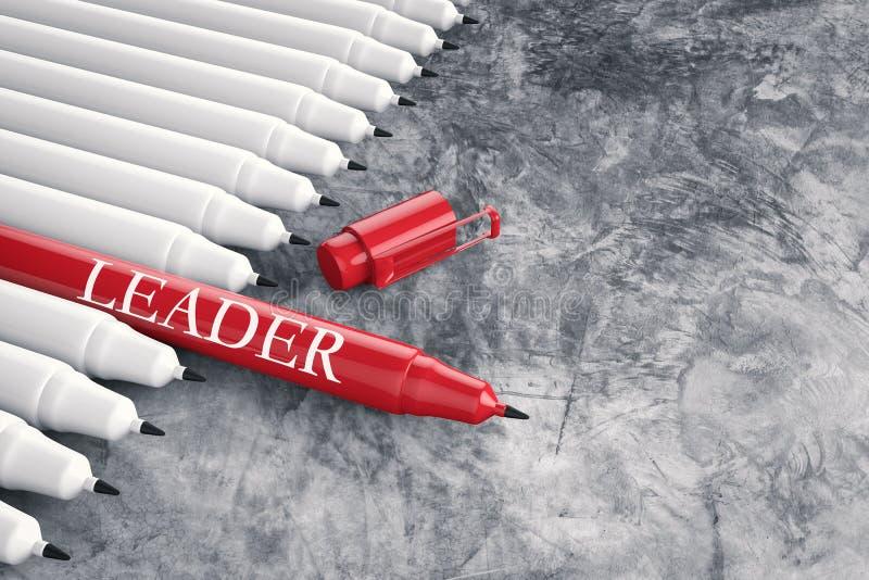 Ledarskapbegrepp med den röda pennan arkivbild