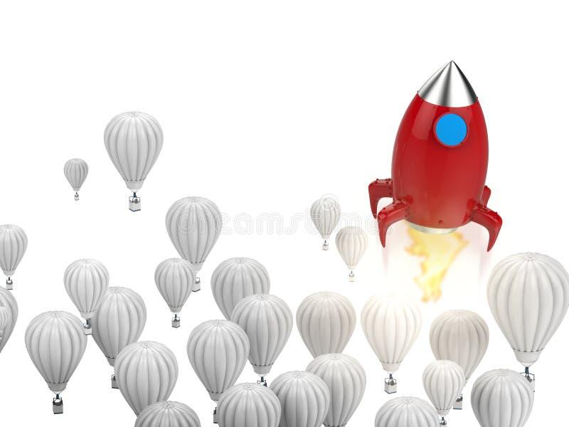Ledarskapbegrepp med den röda raket stock illustrationer