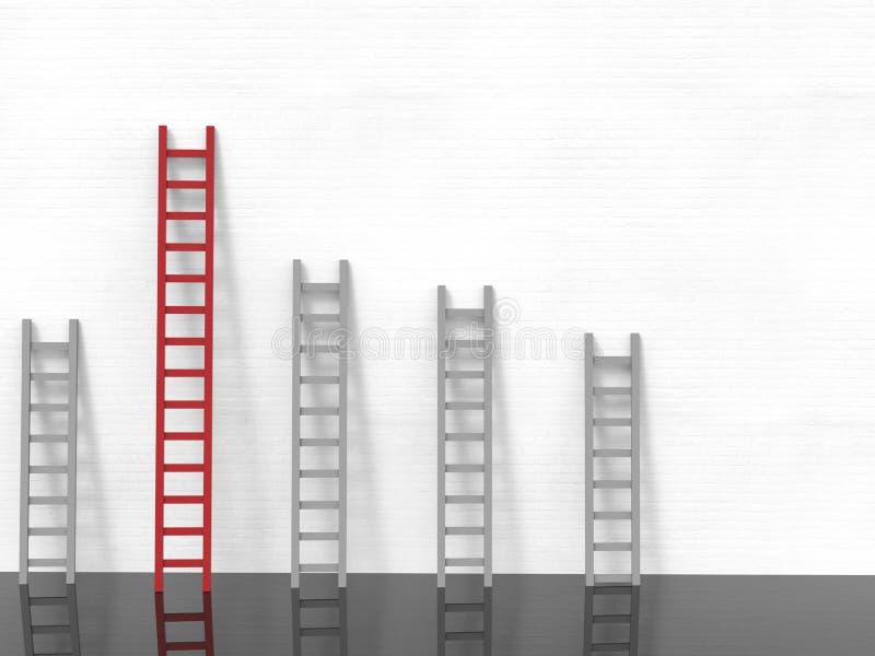 Ledarskapbegrepp med den röda stegen royaltyfri bild
