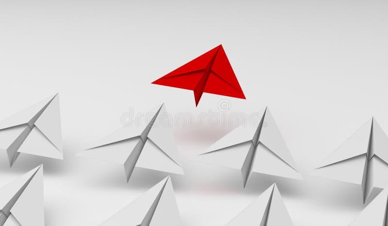 Ledarskapbegrepp med det röd och vitbokflygplanet på vit bakgrund Digital hantverk i utbildnings- eller loppbegrepp Åtlöje upp royaltyfri illustrationer