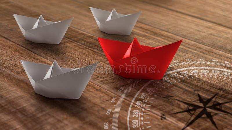 Ledarskapbegrepp med det r?da pappers- skeppet som leder bland viten p? en lantlig tr?bakgrund arkivfoto