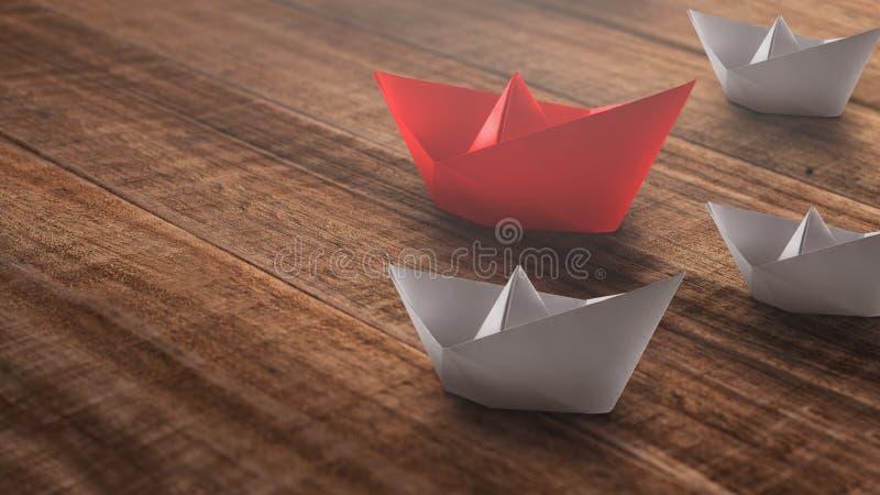 Ledarskapbegrepp med det r?da pappers- skeppet som leder bland viten p? en lantlig tr?bakgrund royaltyfri foto