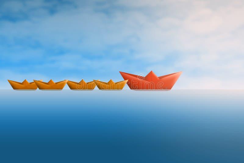 Ledarskapbegrepp med pappers- skepp vektor illustrationer