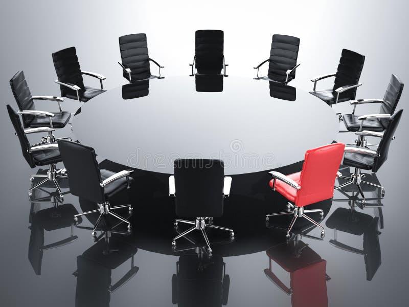 Ledarskapbegrepp med röd kontorsstol arkivfoto