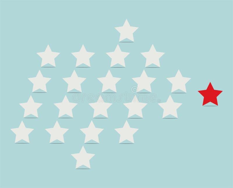 Ledarskapbegrepp med stjärnor som följer deras ledare vektor illustrationer