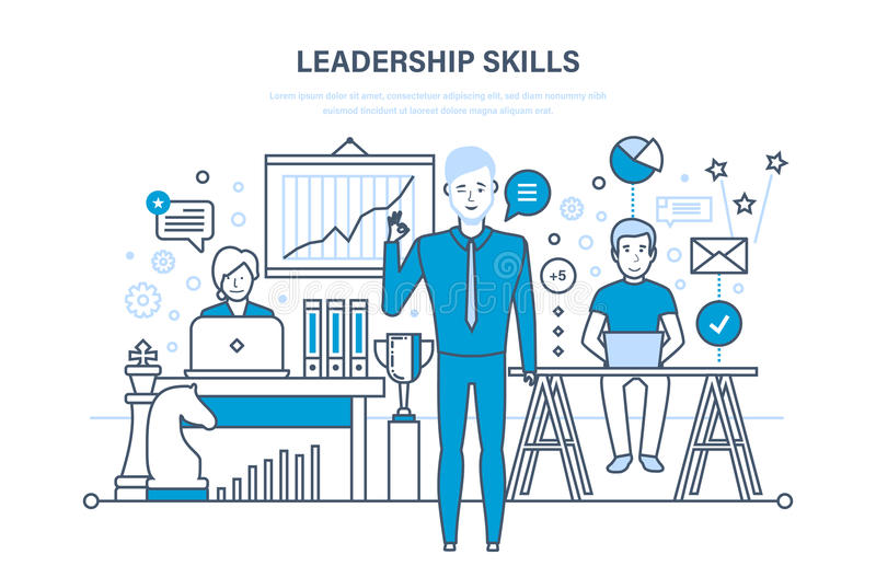 Ledarskapexpertis, ledarskaputveckling, ledning, karriärtillväxt, personliga kvaliteter för förbättring royaltyfri illustrationer