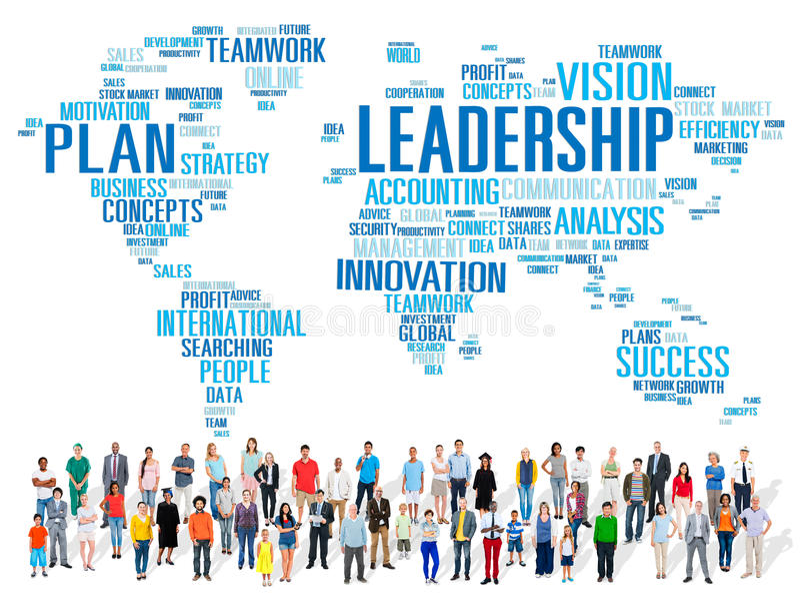 LedarskapframstickandeManagement Coach Chief globalt begrepp royaltyfri fotografi