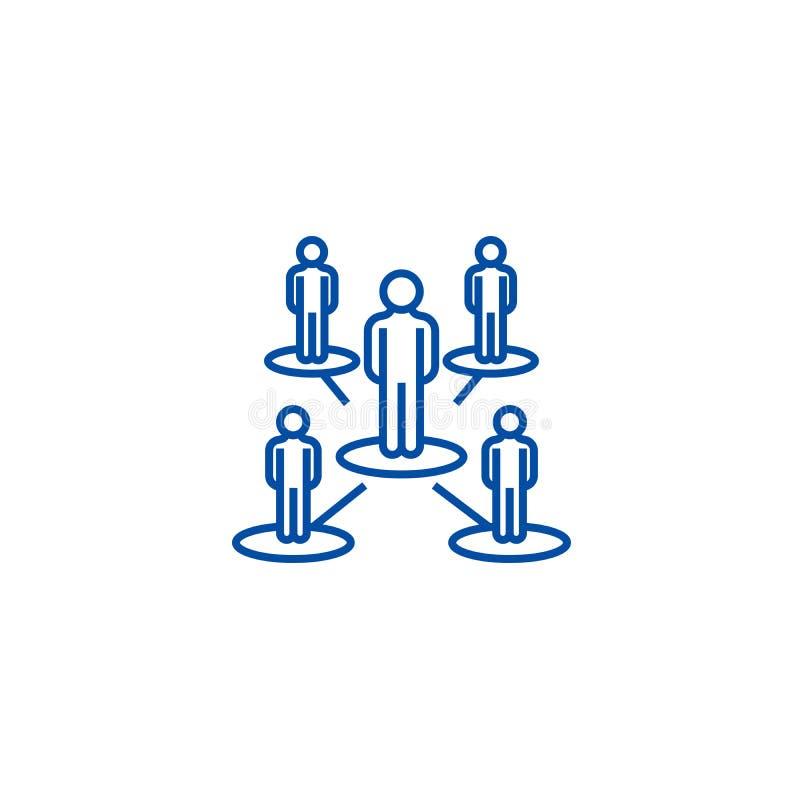 Ledarskapnätverk, flernivå-linje symbolsbegrepp Ledarskapnätverk, flernivå-plant vektorsymbol, tecken, översikt stock illustrationer