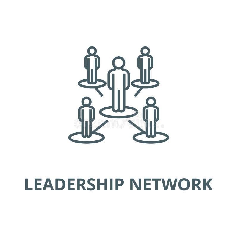 Ledarskapnätverk, flernivå-vektorlinje symbol, linjärt begrepp, översiktstecken, symbol royaltyfri illustrationer