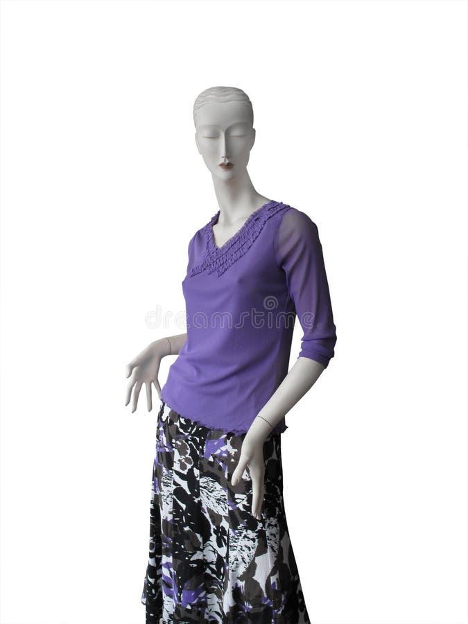 Ledenpop in lilac hoogste en bloemenrok royalty-vrije stock afbeeldingen