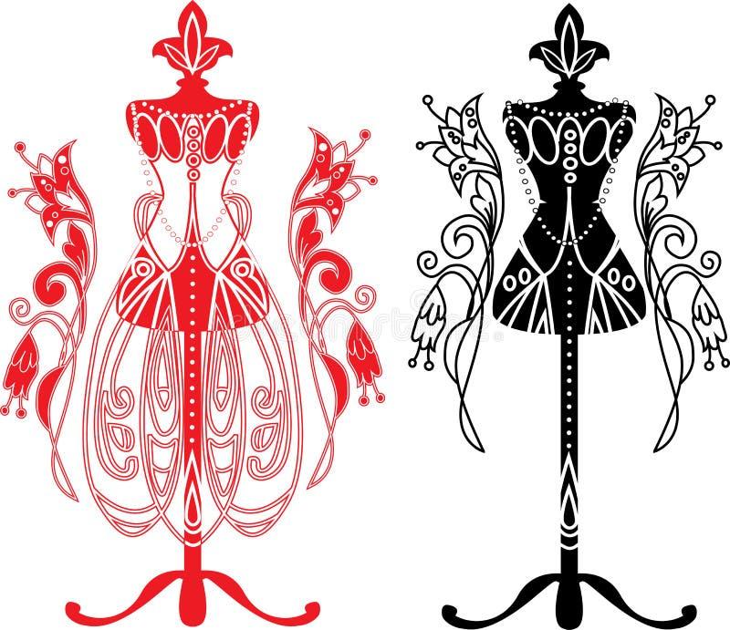 Ledenpop voor kleermakers met kleding vector illustratie
