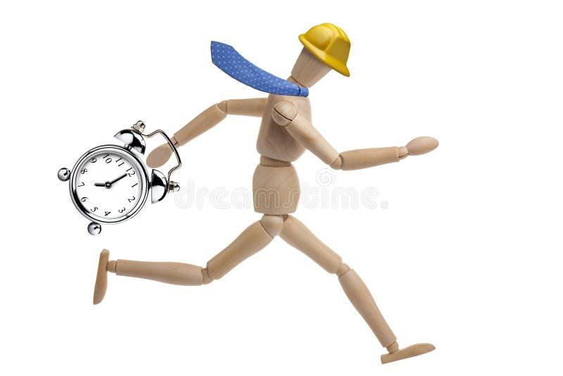 Ledenpopzakenman Geïsoleerd Deadline Clock Running royalty-vrije stock afbeeldingen
