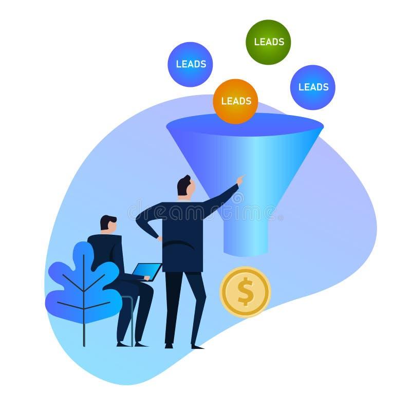 Leder utvecklingen Försäljningstratt bollar som skriver in in i en omvandlingstratt och därefter en efterbehandling som pengar, b royaltyfri illustrationer