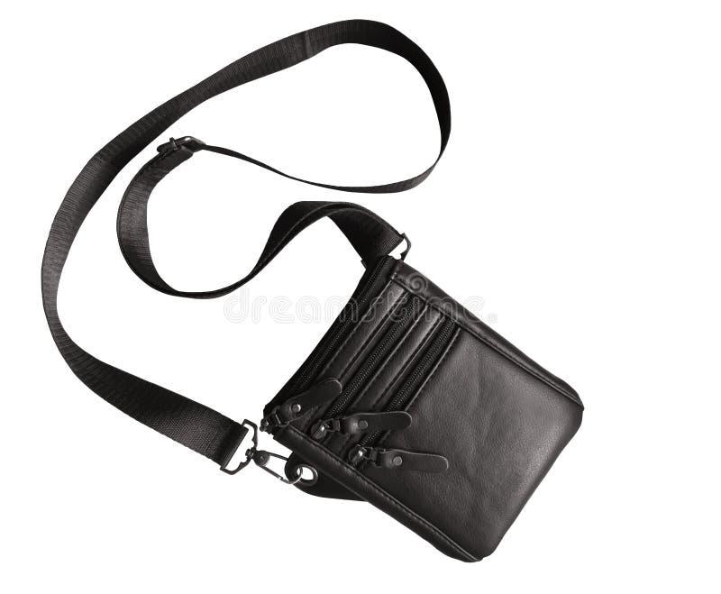 Lederen zwarte zak geïsoleerd op wit royalty-vrije stock fotografie