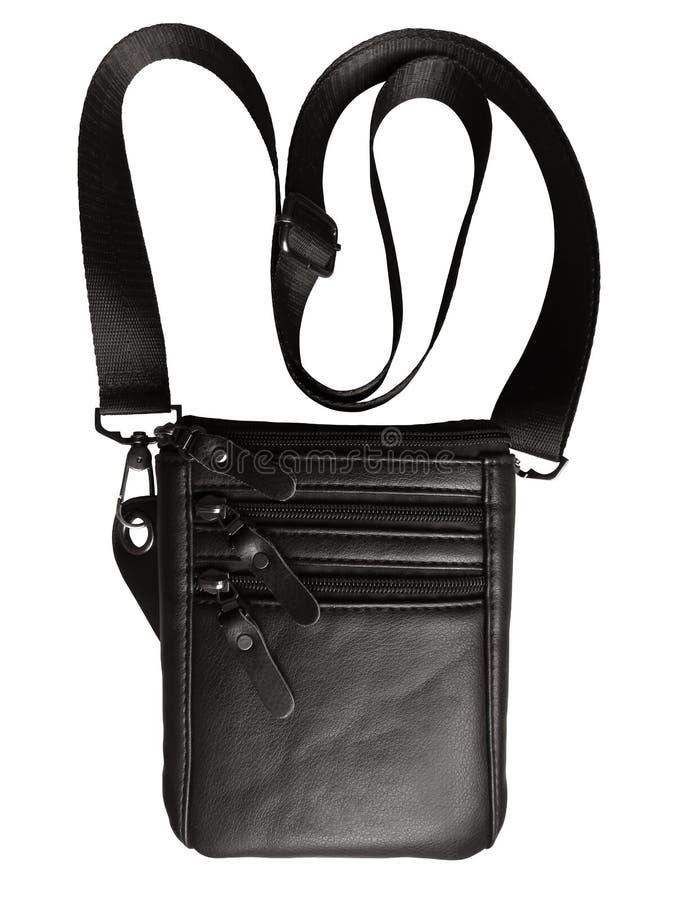 Lederen zwarte zak geïsoleerd op wit stock foto