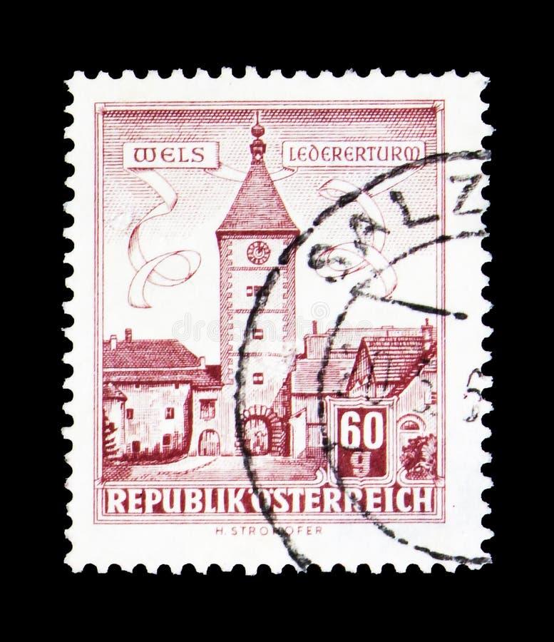Lederer - torre, Wels (Austria settentrionale), serie delle costruzioni, circa 196 immagine stock libera da diritti