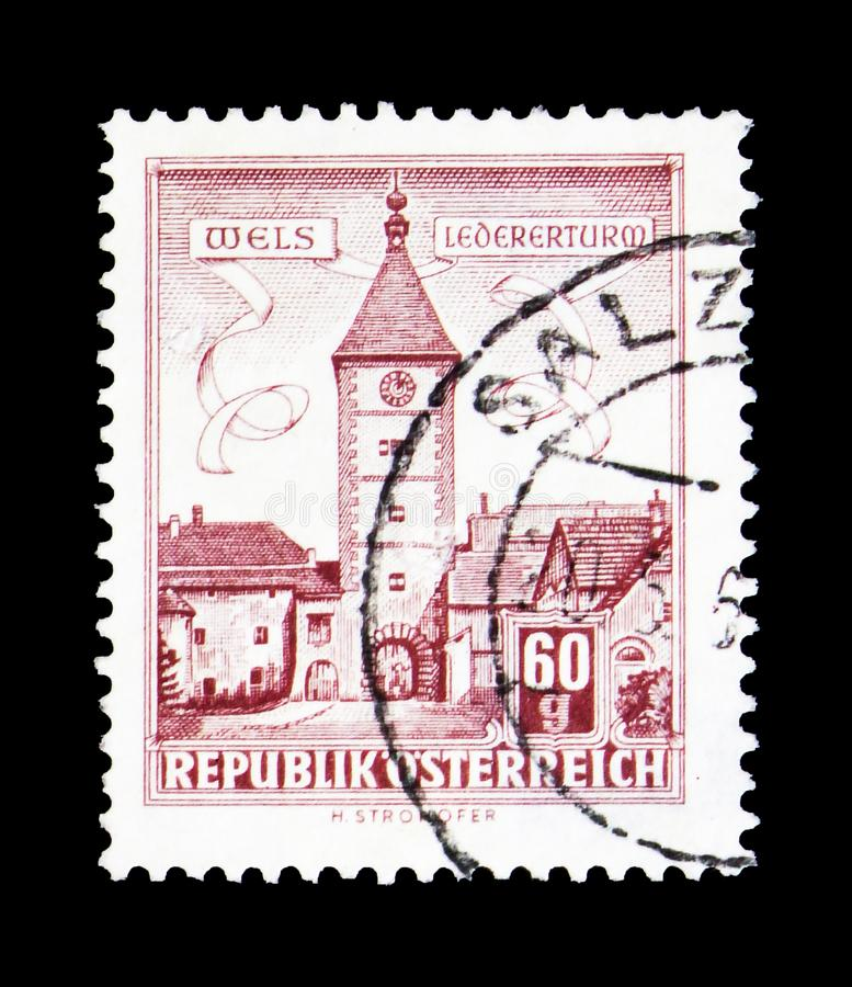 Lederer -Tower, Wels (Upper Austria), Buildings serie, circa 1962. MOSCOW, RUSSIA - MARCH 18, 2018: A stamp printed in Austria shows Lederer -Tower, Wels (Upper stock photos