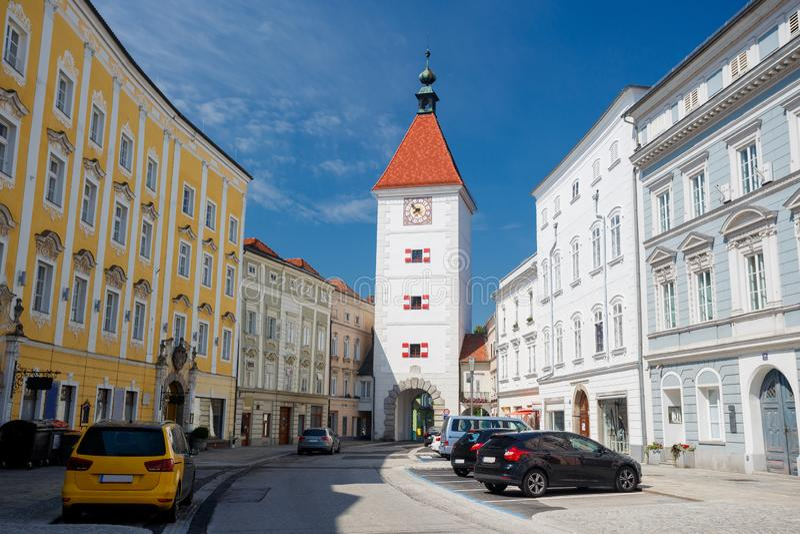 Lederer-Turm, Wels, Österreich lizenzfreie stockfotografie