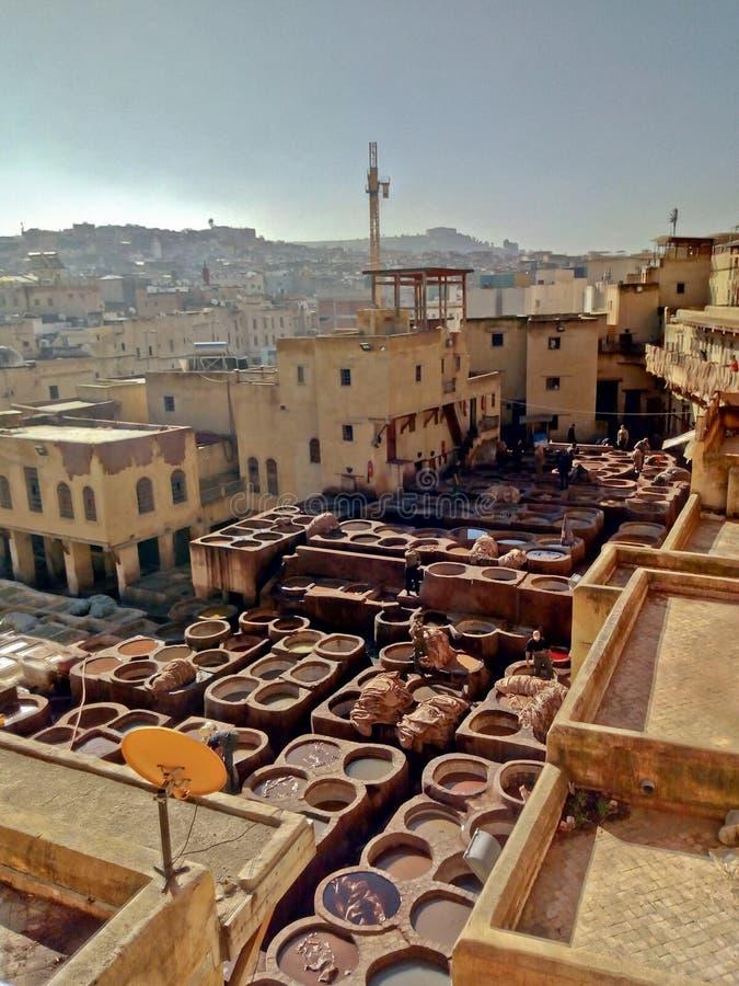 Ledergerbereien in Fez lizenzfreie stockfotografie