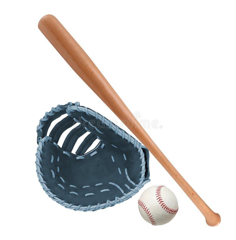 Lederhandschuh mit Baseball und Schläger lizenzfreie stockbilder
