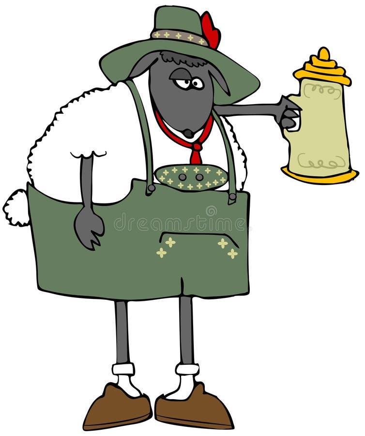 Lederhosen que llevan de las ovejas de Oktoberfest ilustración del vector