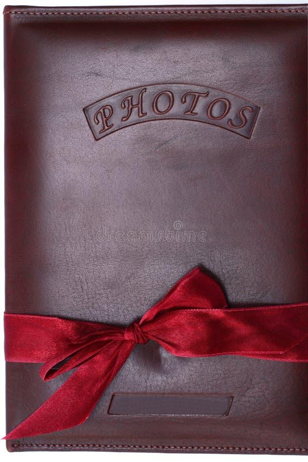 Lederne Abdeckung für Fotographienalbum lizenzfreie stockbilder