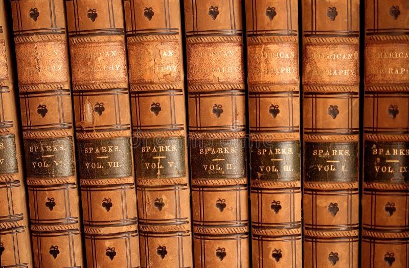 Lederne gebundene Bücher lizenzfreie stockfotos